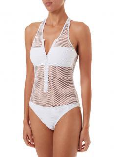 Melissa Odabash zuma white sports zipup racerback swimsuit