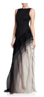Halston Heritage Ombre Draped Gown