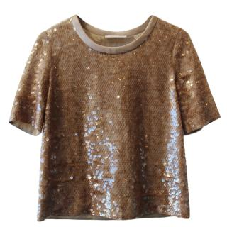 Chloe Cropped Champagne Sequin Top