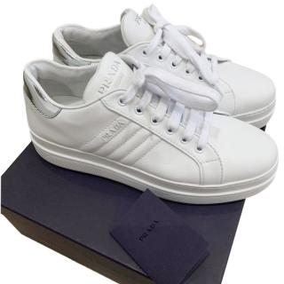 Prada white leather low-top trainers