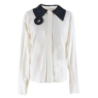 J.W. Anderson White Shirt with Leather Collar
