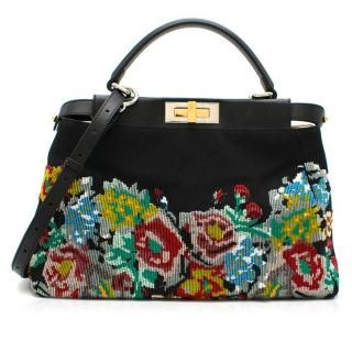 Fendi Black Floral Beaded Canvas Peekaboo Bag