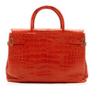 Asprey Red Darcy 30cm Silk Finish Crocodile Handbag