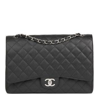Chanel Caviar Leather Black Maxi Double Flap Bag