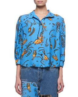 Loewe X Paula's Ibiza clown-print blouse