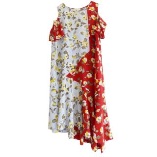 Suno Two-Tone Floral Cold Shoulder Dress