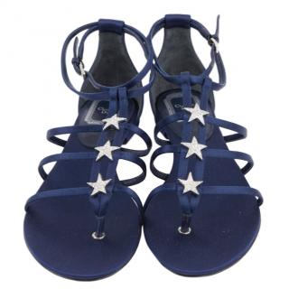 Dior Blue Satin Star Embellished Sandals