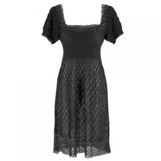 M Missoni black scallop-knit dress