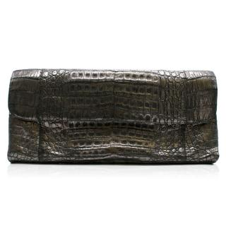 Nancy Gonzalez Silver Crocodile Leather Clutch Bag