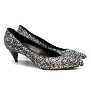 Saint Laurent Tara 55 Black Glitter Kitten Heel Pumps