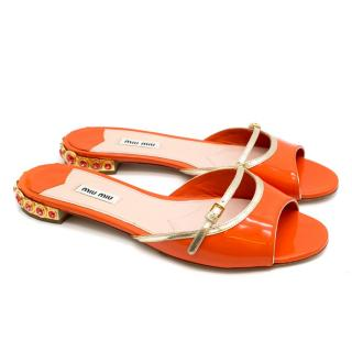 Miu Miu Orange Patent Leather Embellished Sandals