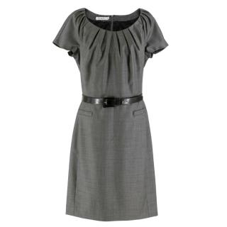 Chrisitian Dior Grey Wool Gathered-neck Belt Dress