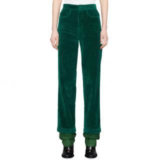 J W Anderson Green Corduroy Straight-leg Ski Trousers