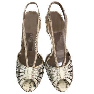 Salvatore Ferragamo macrame snakeskin sandals