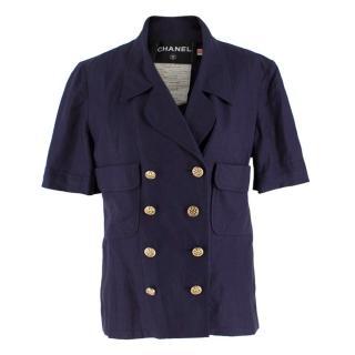 Chanel Navy Wool Short Sleeve Jacket