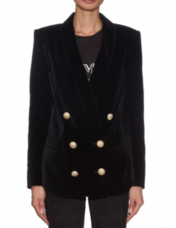 Balmain Shawl-lapel Double-breasted Velvet Blazer