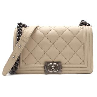Chanel Beige Stitch Quilted Boy Bag