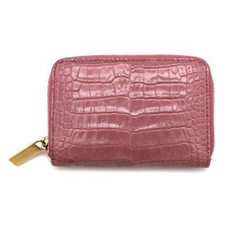 Smythson Pink Alligator Leather Wilde Zip Coin Purse - New Season