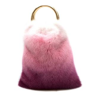 Simonetta Ravizza Furrissima Pink Ombre Mink Top Handle Bag - Current