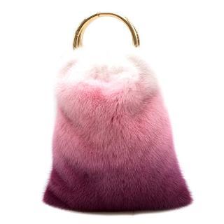 Simonetta Ravizza Furrissima Pink Ombre Mink Top Handle Bag - Current