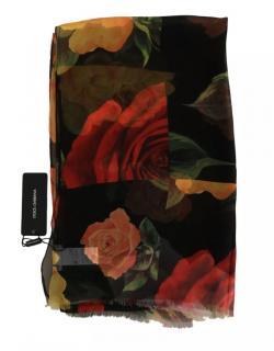 Dolce & Gabbana Rose Print Silk Scarf  Wrap