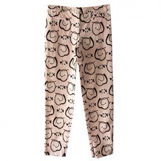 Max Mara Pink & Black Printed Trousers