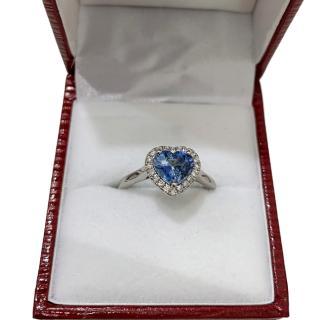 Bespoke 1.00ct Blue Sapphire & 0.20ct Diamond Halo Platinum Ring