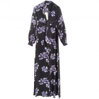 Anjuna Black Floral Print Silk Maxi Dress