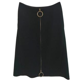 Celine Black Wool Zip Detailed Skirt