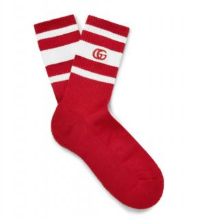 Gucci Red & White Striped GG Socks