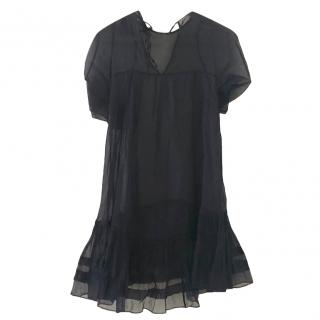 Cecilie Bahnsen silk navy sheer dress