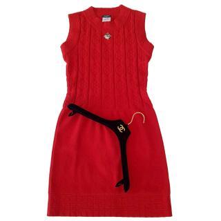Chanel Red Wool Knit Sleeveless Dress