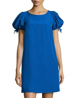 Red Valentino Tie Back Blue Shift Dress