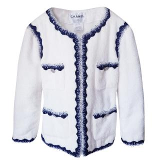 Chanel White Jacket W/ Blue Tweed Trim
