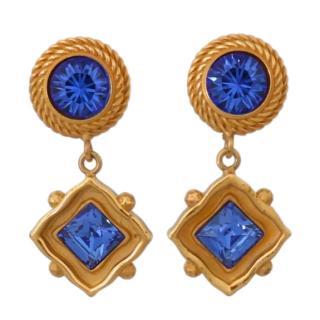 Dolce & Gabbana Blue Crystal Drop Earrings
