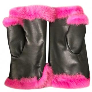 Bespoke Pink Mink & Black Leather Mittens