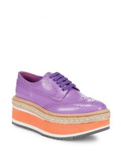 Prada Purple leather brogue wedges