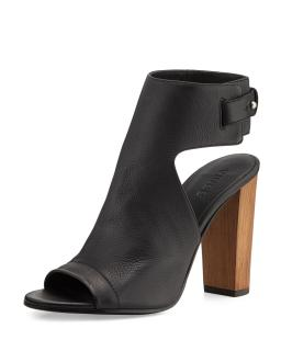 Vince Addie Leather Peep-Toe Booties