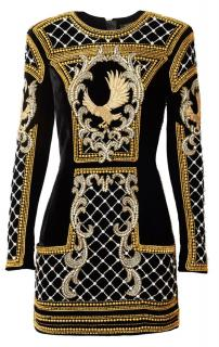 Balmain x H&M Black & Gold Velvet Embellished Eagle Mini Dress