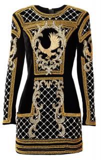 Balmain x H&M Black & Gold Velvet Embellished Eagle Mini Dress