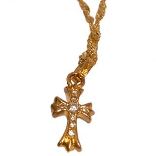Chrome Hearts diamond encrusted gold cross