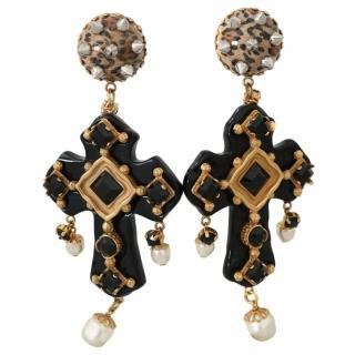 Dolce & Gabbana black crystal embellished cross drop earrings