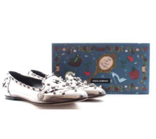 Dolce & Gabbana Metallic Silver Studded Loafers