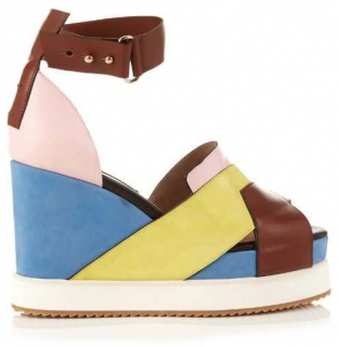 Chrissie Morris Isla Leather And Suede Wedge Sandals