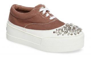 Miu Miu Velvet Embellished Platform Sneakers