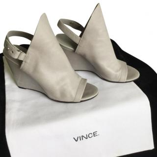 Vince Grey Peep-Toe Wedge Slingback Sandals