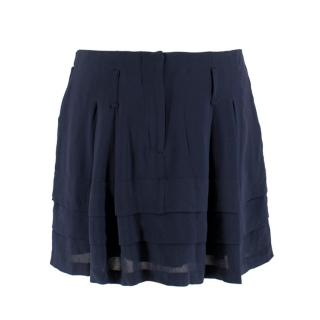 Balenciaga Navy Silk Tiered Ruffle Mini Skirt