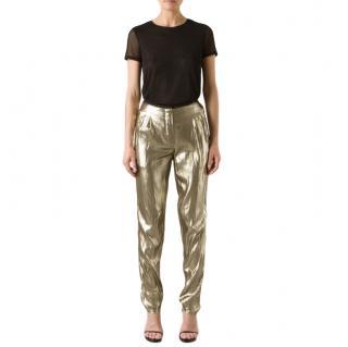Lanvin Silk Metallic Gold Pleated Trousers