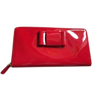 Miu Miu Red Patent Leather Bow Front Wallet