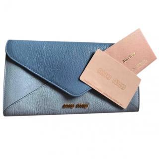 Miu Miu Blue Goatskin Leather Envelope Wallet